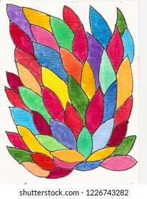 Handmade colorful leaves pattern background