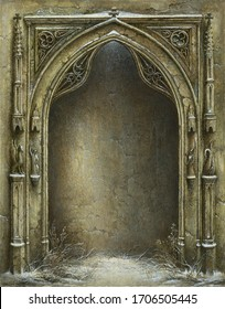 Handmade detailed painting of a richly decorated Gothic arch with a niche inside, acrylic on paper.