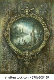 Handmade detailed painting of a richly ornated Baroque frame with a fantasy landscape inside, acrylic on paper.