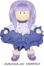 Handmade doll. Making dolls, handmade. Logo for women making handmade dolls, for children's shops.