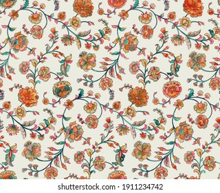 Handmade Floral Pattern With Digital Texture