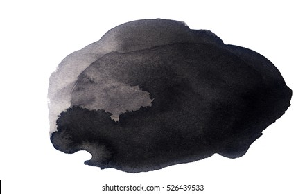 Handmade illustration of black watercolor