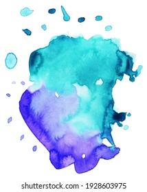 Handmade illustration of blue watercolor