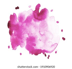 Handmade illustration of pink watercolor