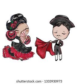 Handmade Illustration of Toreador and flamenco dancer