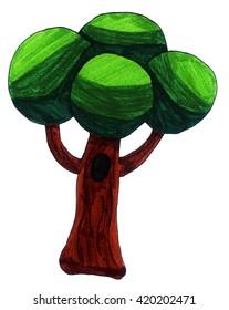 Handmade illustration of a tree