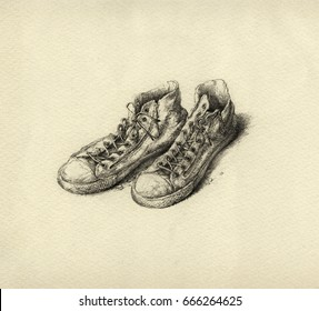 Handmade ink drawing of old worn out sneakers.