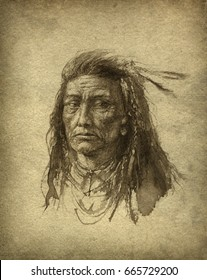 Handmade ink portrait of an American Indian.