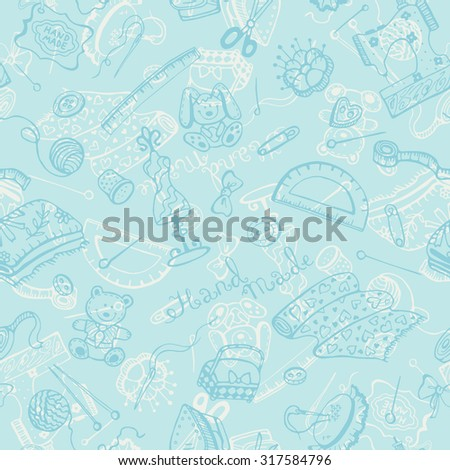 Handmade Items Background Craft Tools Seamless Stock Illustration