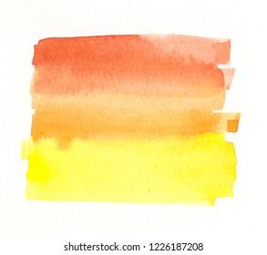 handmade orange yellow watercolor label