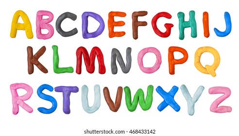 Handmade plasticine alphabet isolated on white background. English colorful letters of modelling clay.