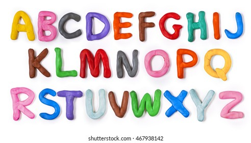 Handmade plasticine alphabet with shadow. Isolated on white background. English colorful letters of modelling clay.