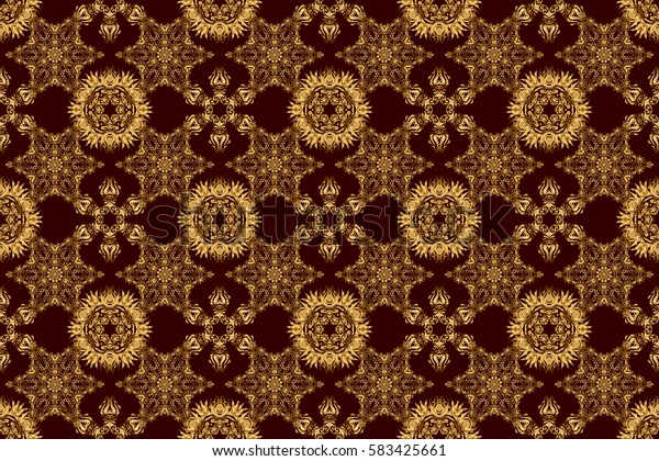 Handmade raster golden elements on brown background. Vintage seamless floral pattern. Decoration for fabric, textile, interior.