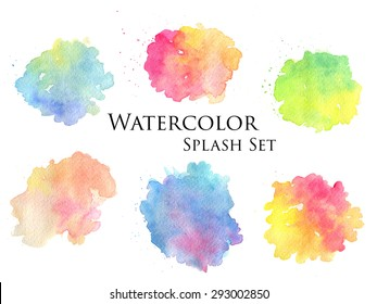 handmade or realistic isolated wet watercolor splash on paper texture set