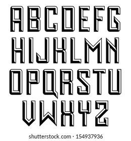 Handmade retro font. Sans serif 3d beveled type. Raster version.