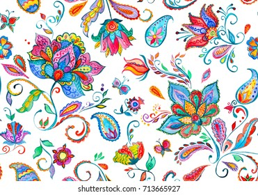 Handmade seamless watercolor floral indian pattern tile. Fantasy abstract whimsical flowers,tulips, flores, leaves illustration. Millefleurs hand made design. Paisley print indian hand drawn elements.