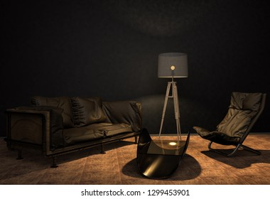 A handmade sofa and a lamp on a grunge style wall background. Made to order from the car seat. 3D illustration
