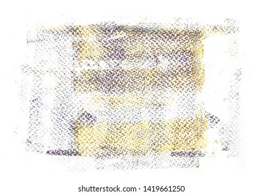 Handmade texture of acrylic paint rolled over white watercolour paper background