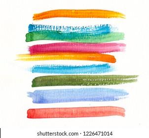 handmade watercolor colorful brush strokes