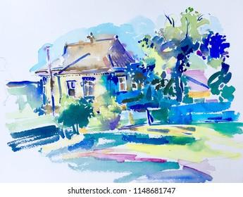 handmade watercolor painting of rural landscape, pleinair aquarelle artwork illustration