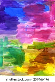 Hand-painted abstract artwork in bright rainbow hues of purple, blue, pink, green, yellow, brown and a bit of silver. Made with acrylic paints.