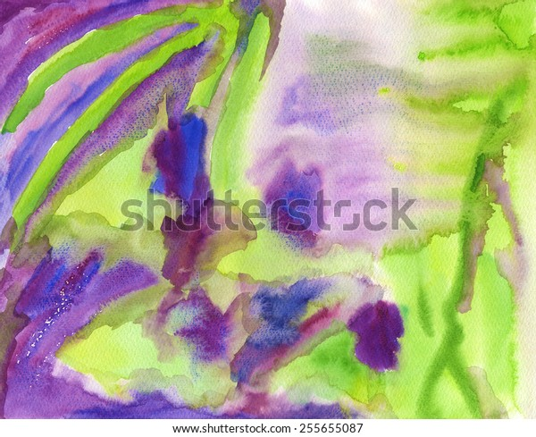 A hand-painted, abstract background in tones of violet, blue and green. I painted it as an abstract depiction of a field of irises in summer.