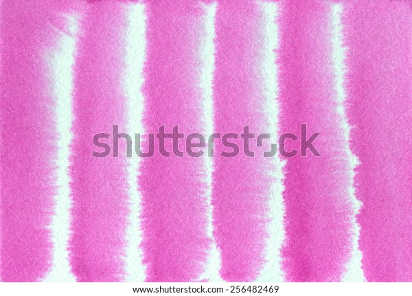 Hand-painted, abstract watercolor background of hot pink and white stripes.
