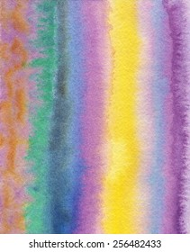 Hand-painted, abstract watercolor background in purple, yellow, blue, green and orange stripes.
