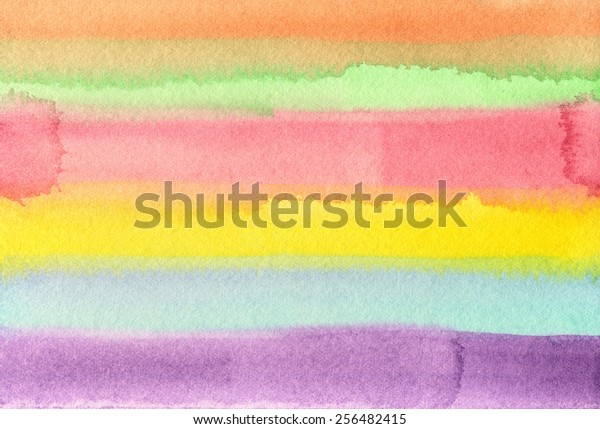 Hand-painted, abstract watercolor background in purple, blue, yellow, red, green and orange stripes.
