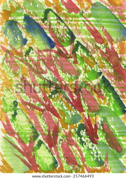 Hand-painted abstract watercolor texture depicting vegetable salad made of sliced green cucumber, red chard and orange carrot.
