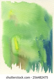 Hand-painted abstract watercolor in tones of yellow green, yellow, brown and blue, with cream-colored rough watercolor paper background.