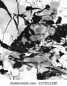 Hand-painted black and white abstract background with paint splashes. Design for background, banner, flaer,poster,brochure etc.