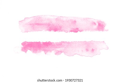Hand-painted brush stroked abstract pink watercolor on white paper background, for design, wallpaper, banners, text.