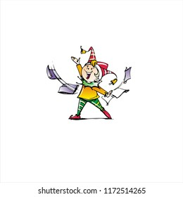 Hand-painted color illustration of a happy joker child in a dynamic position.
