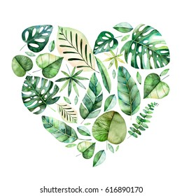 Handpainted illustration with colorful tropical leaves. Tropical forest collection.Perfect for wedding,quotes,greeting card,logo,invitations