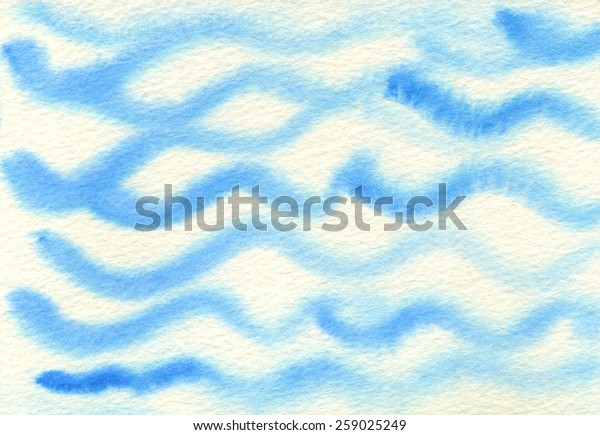 Hand-painted, random brush strokes forming wave-like pattern. Blue watercolor on rough, off-white watercolor paper. Hand drawn using transparent watercolor paint on paper.