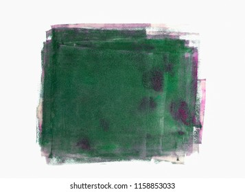 Handpainted stainy abstract patch in green-magenta colours with stainy textures isolated on white background