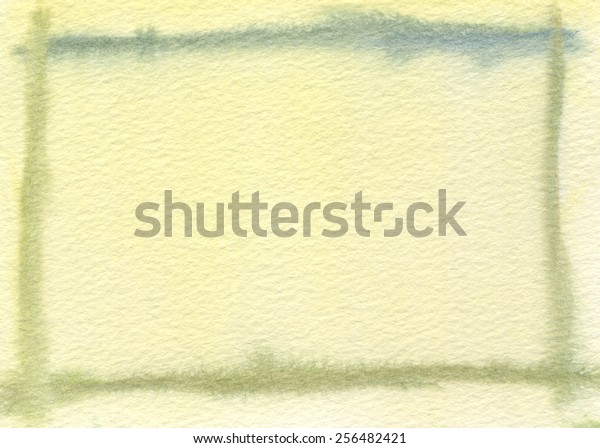 Hand-painted, textured watercolor border in moss green with light yellow background.