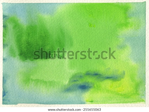 Hand-painted watercolor abstract background in blue green and yellow green with cream-colored, rough watercolor paper texture.
