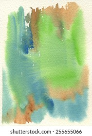 Hand-painted watercolor abstract background in green, blue and brown, with cream-colored rough watercolor paper texture.