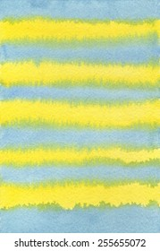 Hand-painted watercolor background texture of blue and yellow stripes.