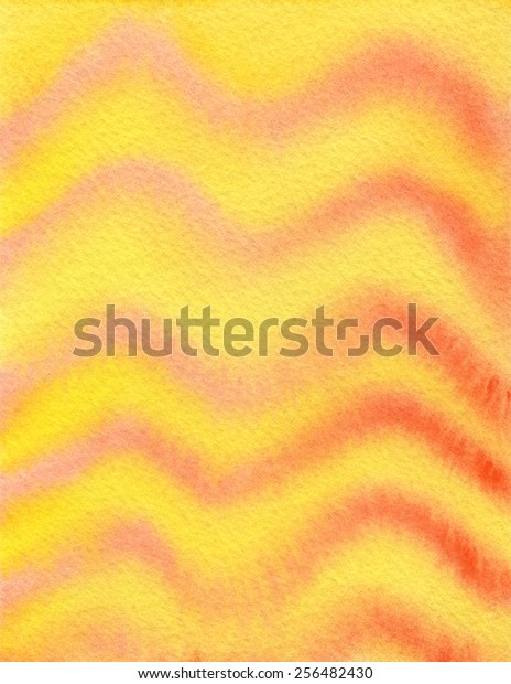 Hand-painted watercolor background texture in bright yellow and light orange wave-like pattern.