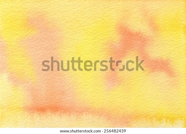 Hand-painted watercolor background texture in bright yellow and light orange.