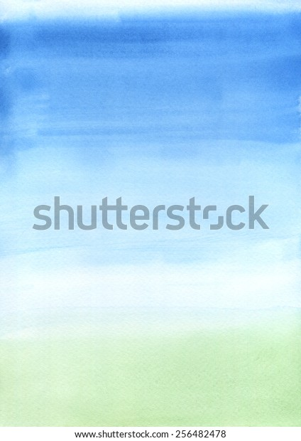 Hand-painted watercolor background texture depicting blue sky and green grass.