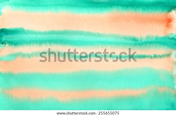 Hand-painted watercolor background texture in green and orange stripes.