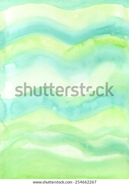 Hand-painted watercolor background texture in wave form with fresh green tones.