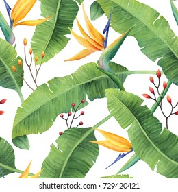 Hand-painted watercolor banana leaves pattern with bird of paradise flowers on white background