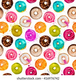 Hand-painted watercolor donuts seamless background