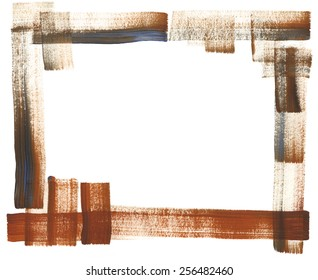 Hand-painted watercolor dry brush frame in brown with touches of blue.