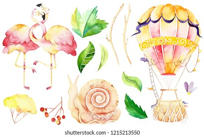 Handpainted  watercolor elements. Watercolor isolated elements included flamingo, air balloon, snail, leaves. Perfect for you postcard design, wallpaper, print, invitations, packaging etc.